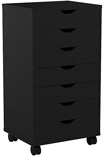 DEVAISE Hölzernen Kommoden/Rollcontainer/Schubladenschrank mit 7 Schubladen für Büro und zu Hause, Schwarz