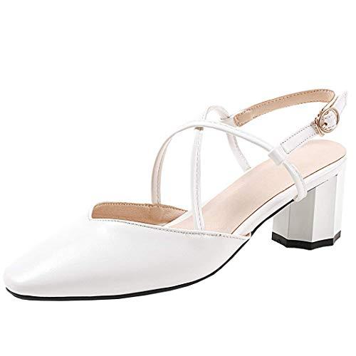 COOLULU Damen Slingback Pumps mit Blockabsatz und Schnalle Chunky Heels 5cm Absatz Geschlossene Schuhe (Weiß,38) Chunky Heel Slingbacks