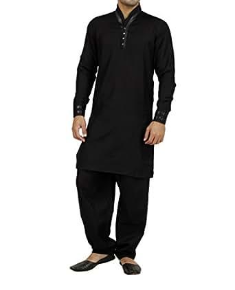 Art Designer Wear Black Linen Pathani Suit For Men-XX-Large