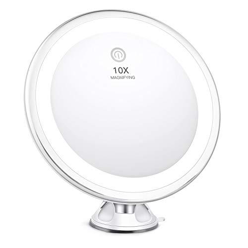 BESTOPE Maquillaje 10X Lupa iluminada 3 Modos de iluminación Inteligente táctil portátil Espejo 360...