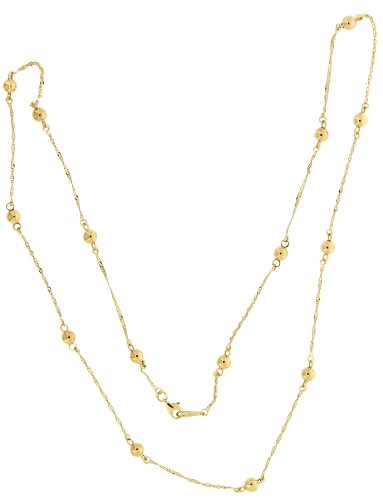 Adara 9 ct Yellow Gold Bead in Singapore Necklet of Length 70.5 cm