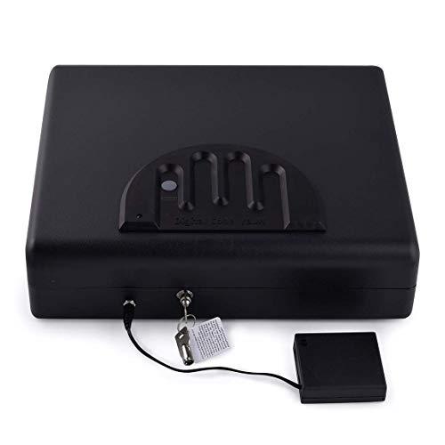 WTY Waffentresore Tragbare Fingerabdruck-Safe Massivstahl-Sicherheitsschlüsselschloss-Safes Für Geld Wertsachen Schmuck Pistole Box -
