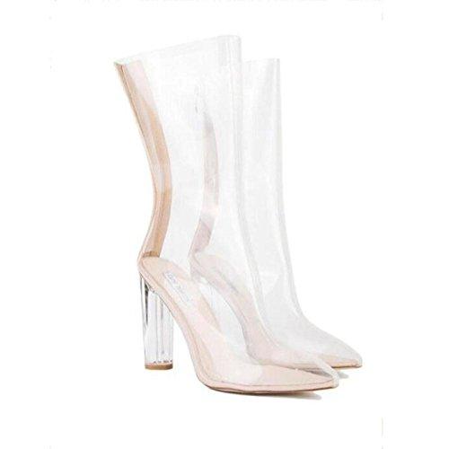 CYMIU Crystal Transparent Heel Echtes Leder Rough High Heel Damen Sandalen Wasserdicht Rutschfeste Verschleißfeste Größe 33 40-48 2018 Sommer, 45 Crystal Heels