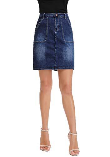 kefirlily Falda Vintage de Vaquero Corto Slim Fit Mujer Cintura Alta Falda Denim A-Line Casual Azul 30