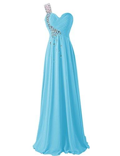 Dresstells, Robe de soirée de mariage/cérémonie/demoiselle d'honneur épaule asymétrique col en coeur pailletée Bleu