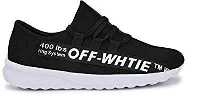 Ventino Men's Sports Running Shoes | Off White Black Sports Shoes for Boys | Shoes for Gym, Cricket and Other Outdoor Sports Activities | Colour :- Black