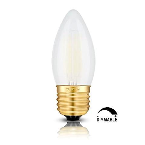 TAMAYKIM C35 6W Dimmbar Glühfaden LED Kerze Lampe, 5000K Tageslichtweiß 600 Lumen, 60W Entspricht Glühlampe, E27 Fassung, Torpedo Form, Matt Glas, 360° Abstrahlwinkel