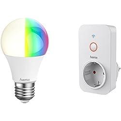 Hama E27 Wi-Fi WLAN LED-Lampe (10W, dimmbar, RGB Farbwechsel, warmweiß) + Hama WLAN-Steckdose (3500W, Kindersicherung) – Beide Artikel: Keine Bridge/Hub nötig, fernsteuerbar via Alexa oder Mimoodz WiFi App und kompatibel mit Amazon Alexa (Echo/Echo Dot/Echo Plus/Echo Show/Echo Spot)