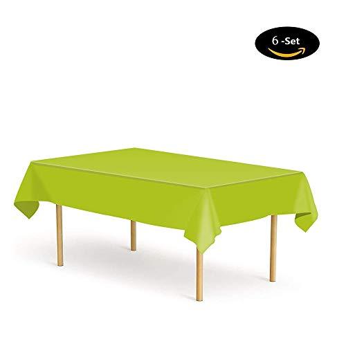 Etmury Tischdecke Einweg [6 Set], Tischdecke Plastik Garten Tischdecke 137x274cm Rechteckig Tischtuch Ideal für Parteien Feste Hochzeit, Indoor Outdoor Einweg Tischdecken Grün