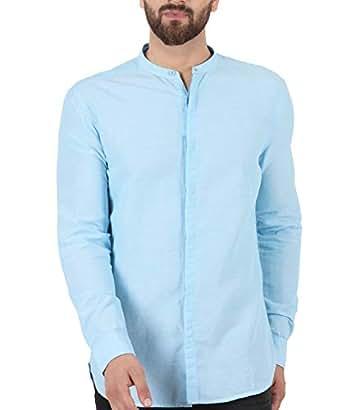 e3884c397c5 ... TURMS Stain Repellent   Anti Odour Azure Lure Light Blue Cotton Linen  Slim-Fit Shirt