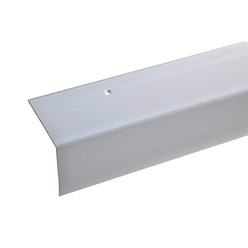 acerto 38257 Aluminium Treppenwinkel-Profil - 135cm 55x69mm silber * Rutschhemmend * Robust Leichte Montage Treppenkanten-Profil Treppenstufen-Profil Alu   Gelochtes Stufenkanten-Profil Treppenprofil