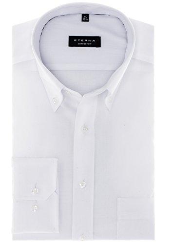 Eterna - Comfort Fit - Bügelfreies Herren Langarm Hemd in Weiß oder Blau mit Button Down Kragen (8100 E194) Weiß (00)