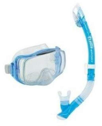 TUSA Sport Imprex 3D Dry Schnorchelset schnorchel-maske trocken schnorchel silikon, erwachsene, blau (Clear Blue)