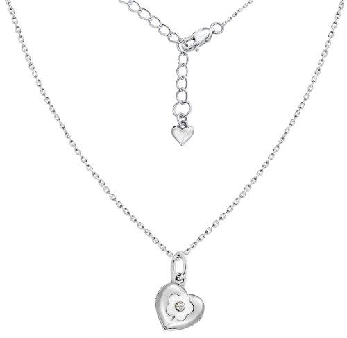 Lily & Lotty 0.01.0345 - Collar de plata de ley con diamante (.01) Lily & Lotty