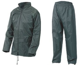 ADULTS FULLY WATERPROOF JACKET AND TROUSER SET - 5 COLOURS (LARGE, OLIVE GREEN)
