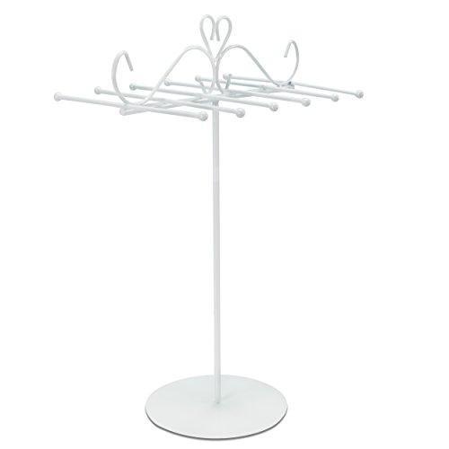 Grinscard - Design Schmuckständer Kettenhalter Schmuck Organizer Armbandhalter Kettenständer aus Metall - weiß - 31 x 20 cm