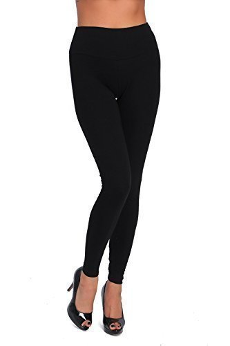Futuro Fashion Full Length High Waist Cotton Leggings All Colours All Sizes Active Pants Sport Trousers LWP Black 20/22 UK (XXXL)