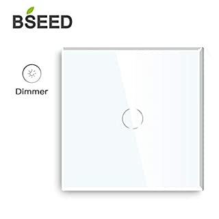 BSEED Dimmer Switch Glass Panel 1 Gang 1 Way Touch Sensitive Light Switch White 86mm Led Compatible Dimmer Switch - Works with Incandescent, Dimmable LED Bulb