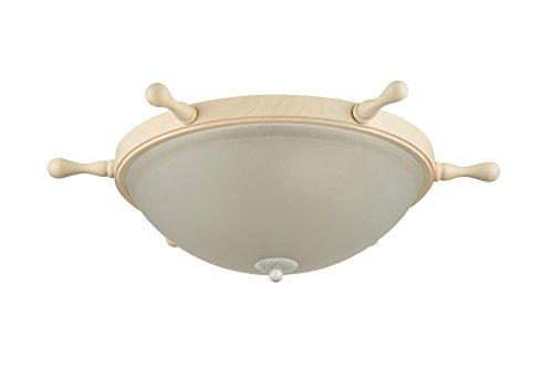 Flache Deckenleuchte Steuerrad, Mattes weißes Glas, Rand aus beigem Holz, 3-flammig, exkl. E14 3x60W 220V-240V (Creme-flache Rand-matte)