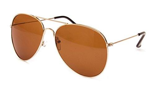 Ciffre Pilotenbrille Fliegerbrille Sonnenbrille Nerd Nerdbrille Brille Vintage Classic Look UV Schutz 400 - Gold Braun Braune Glässer