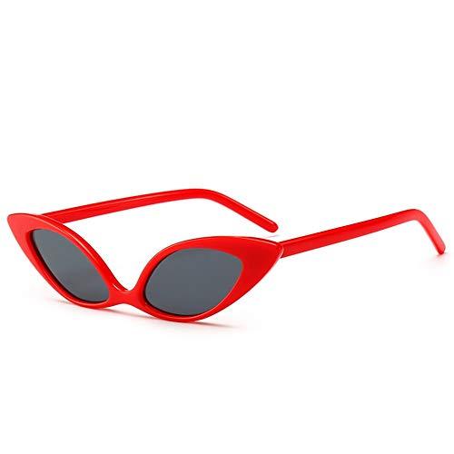 DFBUB Cat Eye Sonnenbrille Europa und die Vereinigten Staaten Trend Persönlichkeit Sonnenbrille Bunte Sonnenbrille weiblich, roter Rahmen grauer Film