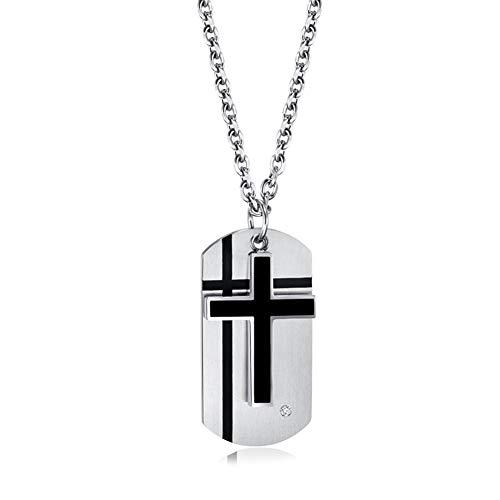 J.Me.Mi Halskette Edelstahl Klassische Kreuz Schutzengel Unendliche Liebe Kruzifix Jesus Bibel Anhänger für Männer Kinder Jubiläum,A