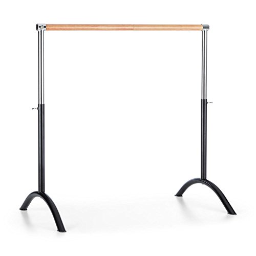 Klarfit Bar Lerina Ballet Bar - Mobile, 110 x 113 cm, Height Between 70 and 113 cm, Good Grip due to 38 mm Diameter, Dance Training or Streching and Pilates Exercises, Steel black