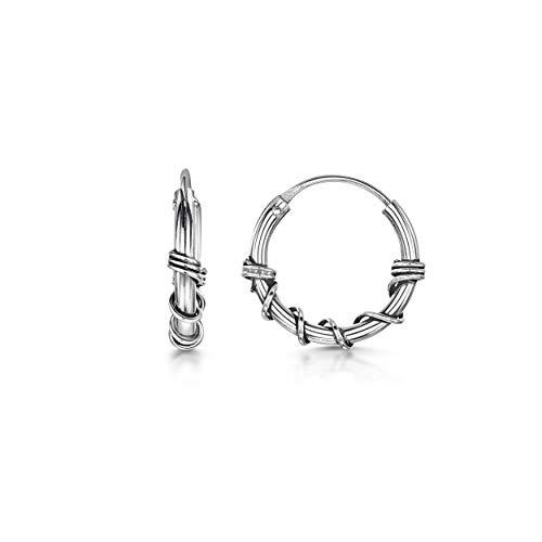 Amberta Cerchi Tribali in Argento Sterling 925 - Orecchini Etnici A Cerchio Stile Bali - Diametro: 15 mm - Modello Corda
