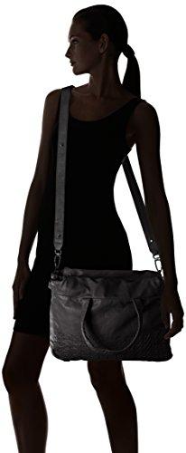 Liebeskind Berlin - Yao stitch, Borsa con Maniglia Donna Nero (Schwarz (ninja black 9998))