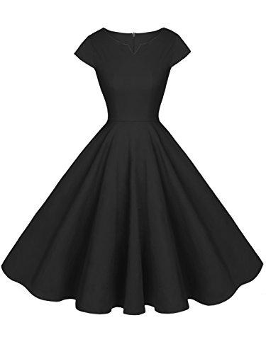 FAIRY COUPLE 1950S Retro Rockabilly Tupfen Kappen Hülsen Abschlussball Kleid DRT019(XL,Schwarz)