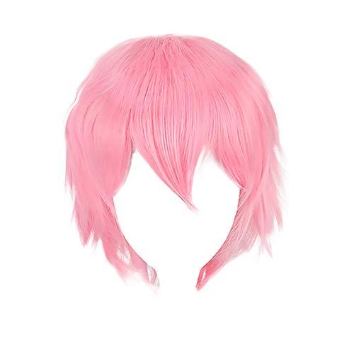 Pochers Multi Farbe Kurze Glatte Haare PerüCke Anime Cosplay Volle Verkauf PerüCken 35cm (rosa) (Rosa Perücken Für Verkauf)