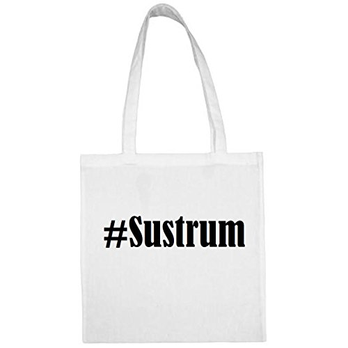 Tasche#Sustrum Größe 38x42 Farbe Weiss Druck Schwarz