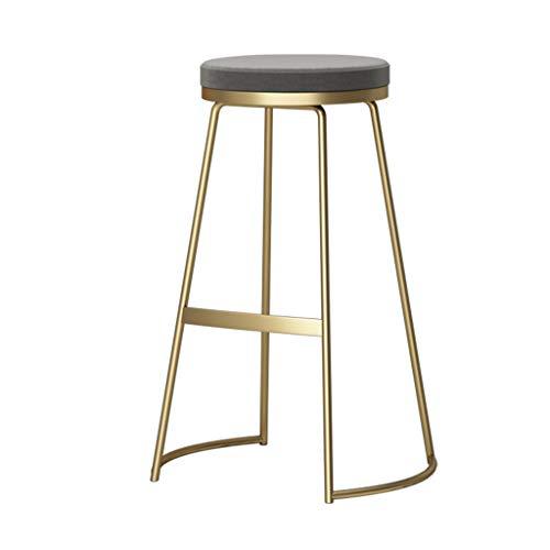 Leg Material (XJBD-Barhocker Moderne Barhocker Frühstück Küche Hohe Hocker Runde Sitz Counter Hocker Fußstütze Design (Material: Schmiedeeisen + Samt, 65 cm) (Farbe : Gray Cushion, größe : Gold Leg))