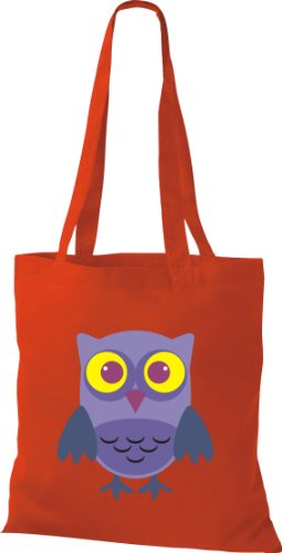 Stoffbeutel Bunte Eule niedliche Tragetasche Owl Retro diverse Farbe rot