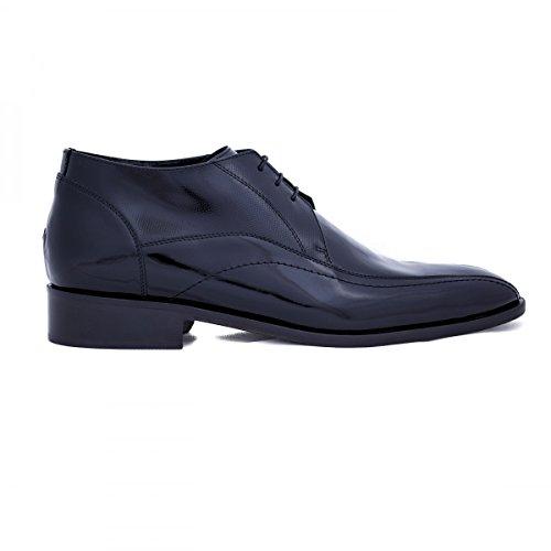 Première maison - scarpe classiche da uomo in pelle rialzate con plantare, colore: nero, taglia: 46