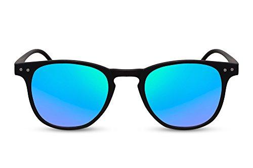 Cheapass Sonnenbrille Breit Matt-Schwarz Grün-Blau Verspiegelt-e Linsen UV-400 Plastik Damen Herren