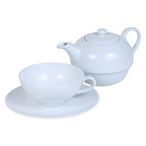 "Teekanne - Teeservice Set aus Porzellan \""Tea for One\"" - 3-teilig: Teeakanne, Tasse und Untertasse"
