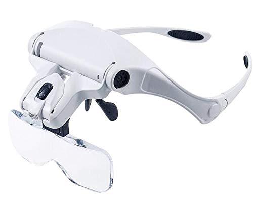 great-fyl Lupenbrille Tragbare Lesung 5 Objektiv Lupe Freisprecheinrichtung Stirnband Lupen mit LED-Licht