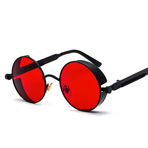 AOCCK Brillen Sonnenbrillen Metal Round Steampunk Sunglasses Men Women Summer NEW Pink Blue Yellow Red Round Sun Glasses For Women Unisex as show in photo black with clear red