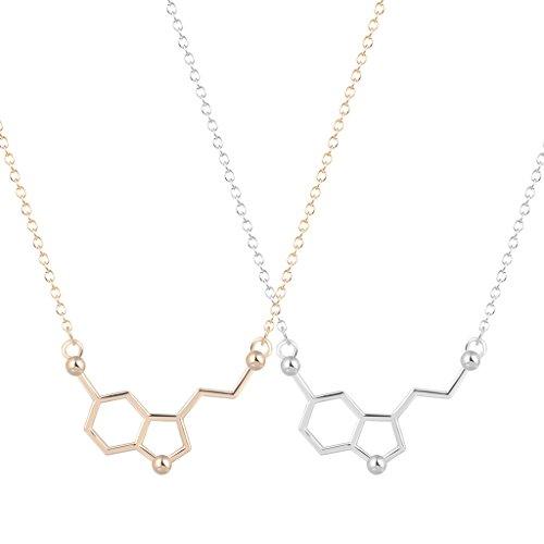 Collar de la molécula química de la serotonina, 2 unidades