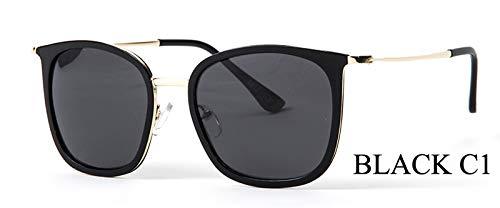 LKVNHP Marke Kleine Rahmen 28g Polarisierte Sonnenbrille Frauen Platz Mode Uv Protector Hd Sonnenbrille Spiegel Fishings WeiblicheWPGJ167 schwarz C1