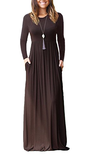 ZIOOER Damen Cocktailkleid Lange Ärmel Lose Maxi Kleider Partykleid Lange Kleid mit Taschen Kaffee L (Ärmel Kaffee)