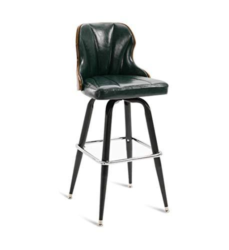 Back-stil Barhocker (JHUEN Eisen Bar Stühle Küche Frühstück Esszimmerstuhl Retro-Stil Hoch Counter Chair High Back Barhocker für Familie und Business (Farbe: Dunkelgrün))