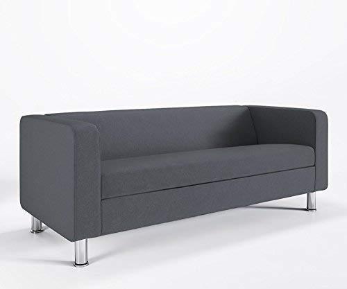 Loungesofa 3-Sitzer CUBBY 4N3 Cocktailsofa Hotelsofa Bürocouch Webstruktur LUNA, Farbe:L12 - Dunkelbraun
