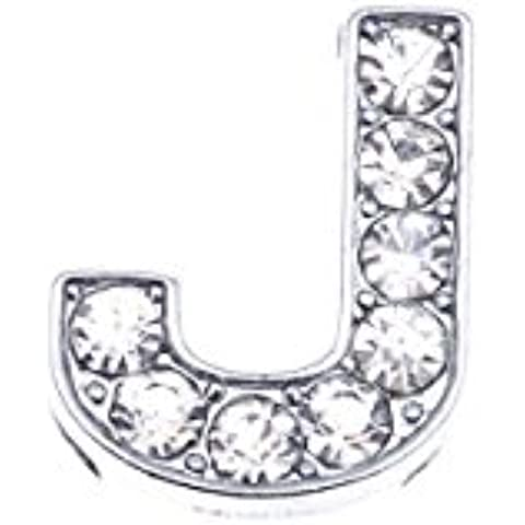 LanShi 10x Rhinestone Alphabet Slide Charm,Letter J, Fits 8mm Bracelets by LanShi