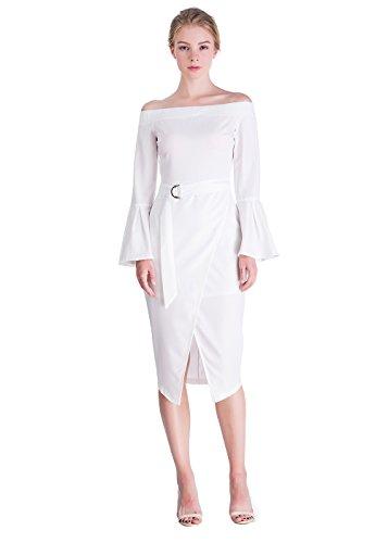 Off Shoulder Dress, Disbest Flare Sleeve Elegant Wide Boat Neck Long Dress Front Split Designed with Waist Belt