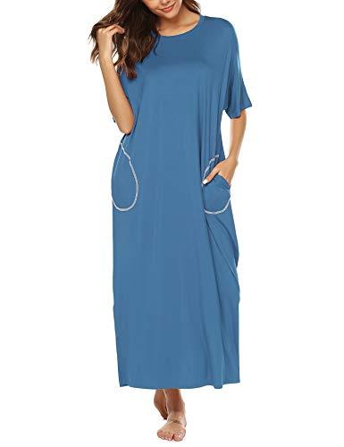 BESDEL Cotton Knit Short Sleeve Nachthemd für Frauen Ganzkörperansicht Schlafkleid mit Taschen Blau M - Lange Ärmel, Eine Tasche