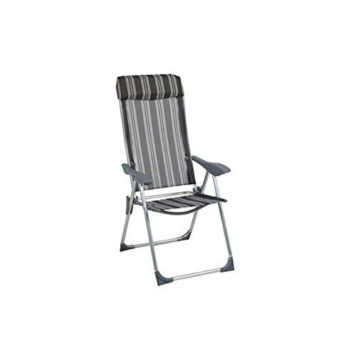 greemotion Alu-Klappstuhl Texel - Campingstuhl grau-gestreift, hohe Lehne 3-fach verstellbar – Aluminium-Klappsessel mit Armlehne – Hochlehner-Stuhl klappbar für Garten, Terrasse, Balkon & Camping