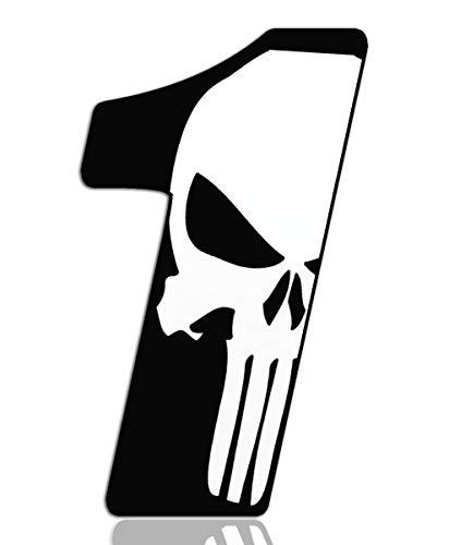 Startnummer Nummern Auto Moto Vinyl Aufkleber Punisher Weiß Motorrad Motocross Motorsport Racing Nummer Tuning 1, N 361