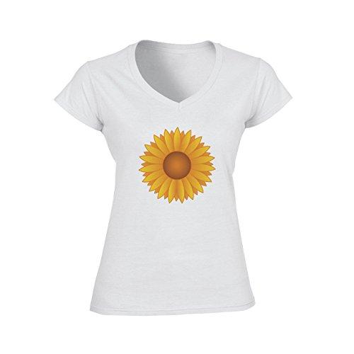Flowers Nature Blossom Plant Sunflower Yellow Cartoon Damen V-Neck T-Shirt Weiß